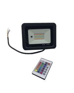 Led RGB Bouwlamp / Floodlight 30Watt inclusief afstandsbediening IP 66 waterdicht