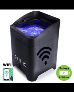 Led Spotlight RGBW+A+UV voor evenementen of shows met Accu en controleerbaar met WiFi